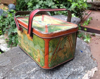 Antique Child's Lunch Box Children Playing Lunch Pail with handles Tin Lunch Pail
