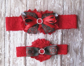 Fireman Garter Set | Firefighter Wedding Garters | Bridal Garter and Toss Garter