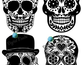 20 Sugar Skull Digital Clipart / Mexican Day of the Dead / Dia de los Muertos / Digital Sugar Skull Clip Art / Instant Download