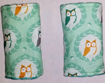 Reversible Infant Car Seat Strap Covers - Owls and Turquoise