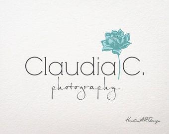 Clasic logo design, Premade logo, Photography logo, Stylish logo, Flower logo, Blue flower logo, Block font logo, Watermark 194