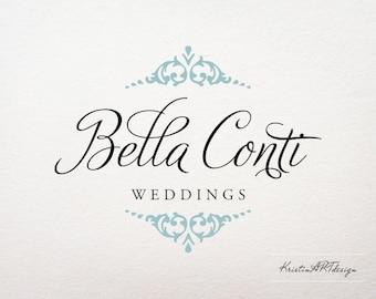 Handwritten logo, Premade logo, Elagant logo, Blue element logo, Wedding logo, Watermark 195