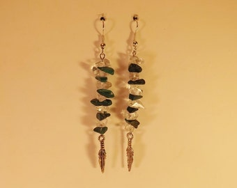 Crystal & Malachite Earrings,  Quartz Crystal Chips,  Malachite Chips,  Pewter Feathers,  Metaphysical,  Handmade Jewelry