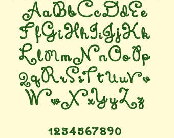Hand script Curly Font machine embroidery designs - caps, letters and numbers,  INSTANT DOWNLOAD, 7 sizes