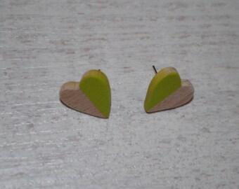 Wood earrings, heart shape in beech,  pistachio green painted
