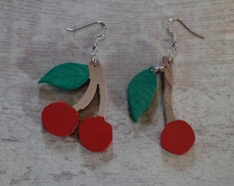 Wood earrings, walnut Cherry