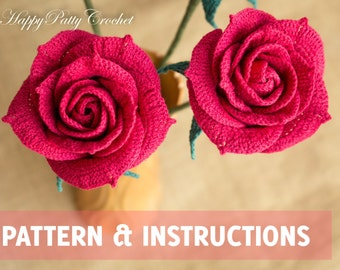 Crochet Rose Pattern  - Crochet Flower Pattern - Crochet Rose for Bouquet and Decoration  - Crochet Pattern - Crochet Flower Arrangement