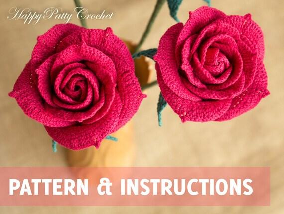 Tutorial Rose Amigurumi : Crochet Rose Pattern Crochet Flower Pattern Crochet Rose