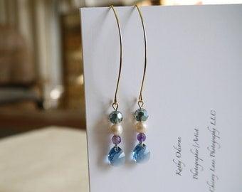 Teardrop Shaped Blue Swarovski Beads, Faced Amethyst, And Fresh Water Pearl, Long Earrings