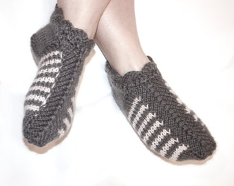 gray striped knitted slippers, knitted slippers, women's slippers, home socks, knitted socks, slippers, Mother's Day, Women