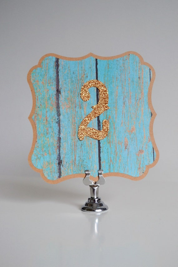 Rustic Aqua Table Numbers - Turquoise and Copper Glitter - Copper Table Numbers - Barn Wedding Decor