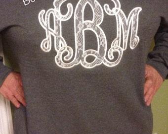 Ladies Plus Size Lace Vine Appliqué Sweatshirt