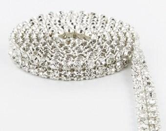 Premium 2 Row Crystal Rhinestone Ribbon / Wedding Cake Banding Trim - 3 Yard