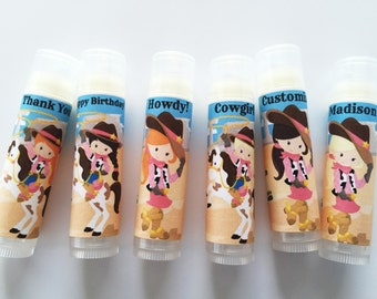 Cowgirl Lip Balm Party Favors - Set of 5 - Wild West Party Favors - Cowgirl - Cowgirl Birthday - Girl Birthday Party - Lip balm - Chapstick