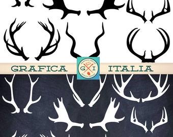 ANTLER ClipArt Elements - 16 Deer Elk Moose Antlers Clip art - Instant Digital Download Transparent Background Printable Collage Sheet