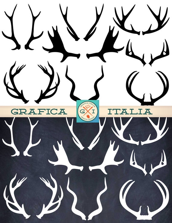 Antler Clipart Elements 16 Deer Elk Moose Antlers Clip Art
