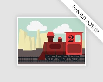 Train steam locomotive, vintage poster, print, illustration children's bedroom, nursery wall art, baby affiche, railroad, railway, kids