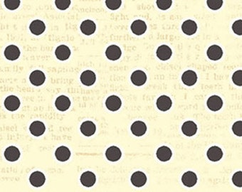 Polka Dots, Black and Cream All My Heart Valentine's Fabric by Iron Orchid Designs for Clothworks.  Polka Dots