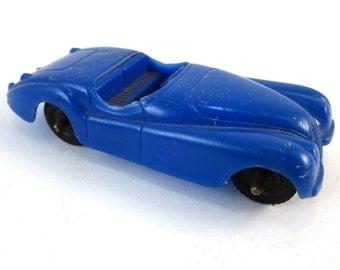Vintage Tootsietoy Blue Plastic Jaguar XK120 Roadster Car Toy Made In U.S.A. XK 120 Convertible Matchbox