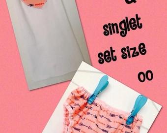 Handmade Nappy Pants & Appliqued Singlet Set Size 00