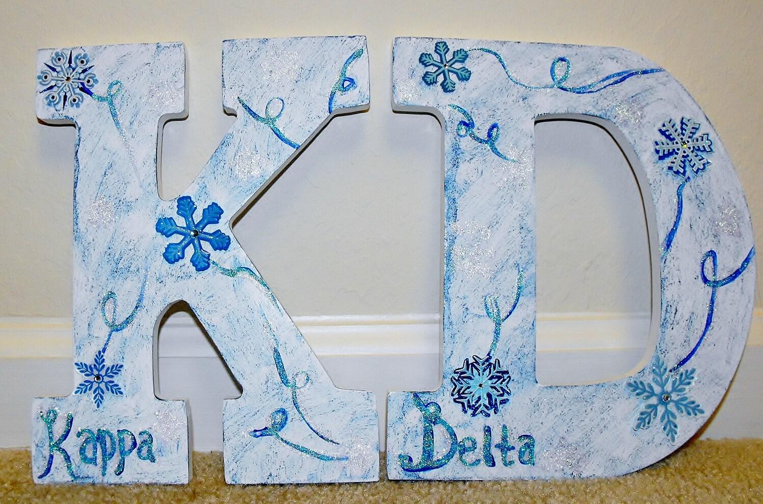 Kappa Delta Sorority Frozen Snowflake Wooden Letters By