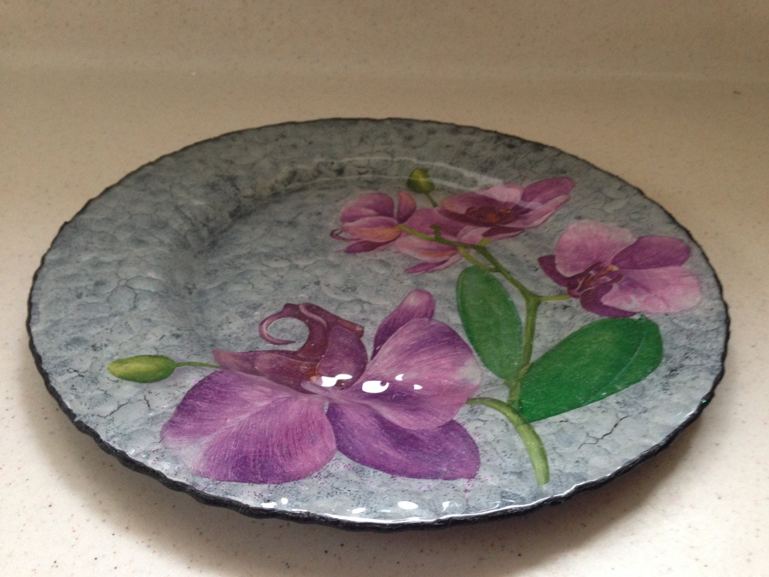 Decorative glass plate flowers of orchids home decor by for Decoration plater
