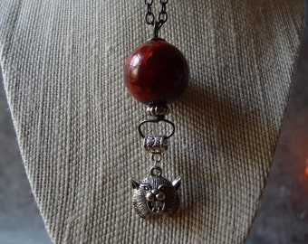 Item marked down SALE 20% OFF Texas State Bobcat Maroon Pendant Long Necklace