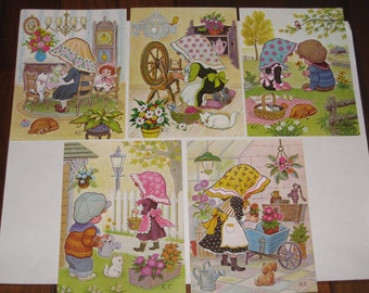 Set of 5 Children's Lithographs by K.C. dated 1973 D.A.C., N.Y. - Litho in U.S.A.