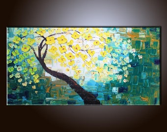 Painting Yellow Flower Tree Painting Flower Painting Original Painting Large Painting Impasto Texture Painting Palette Knife Oil Painting