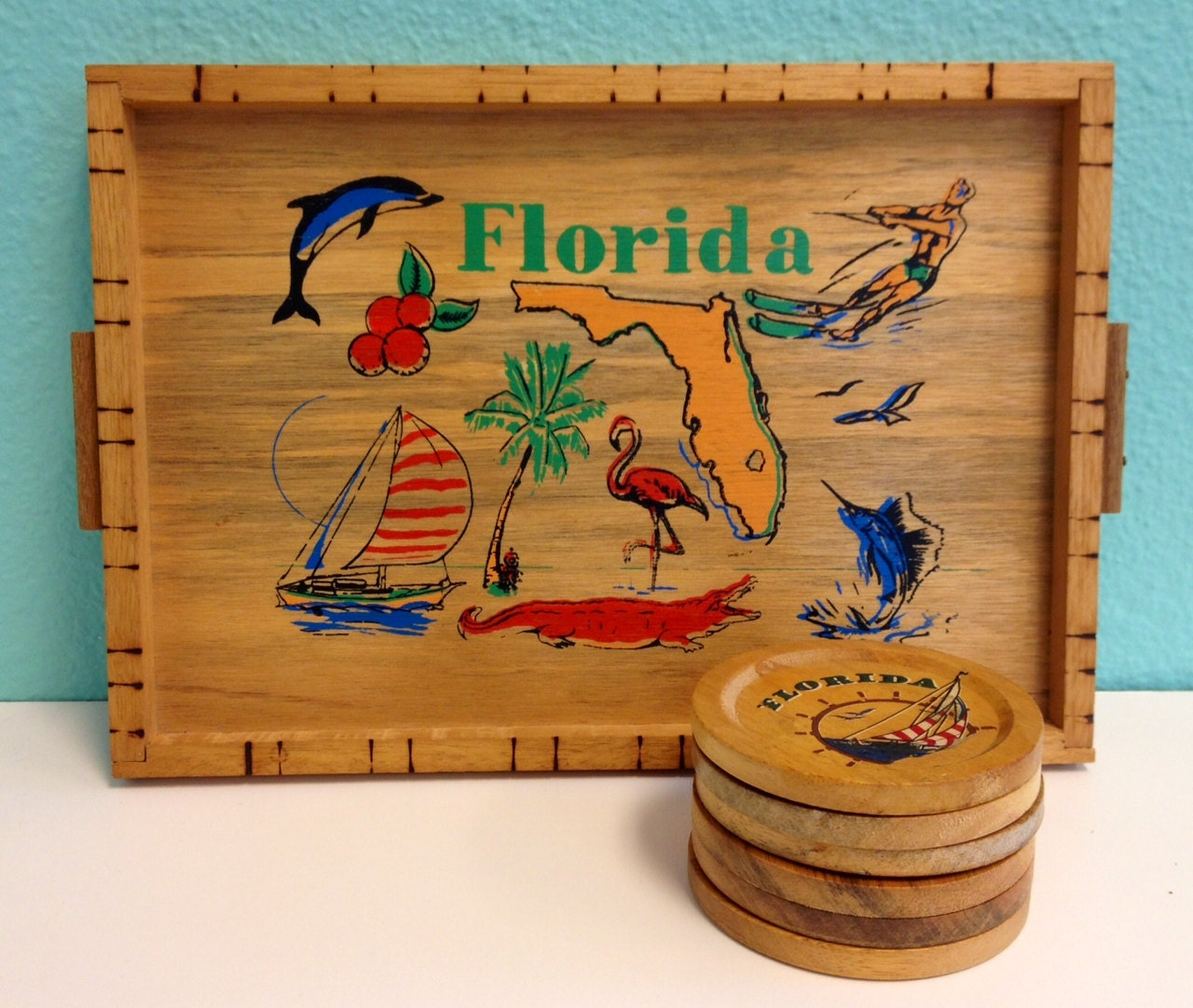 Vintage Coasters Drink Tray Set Wood Wooden By