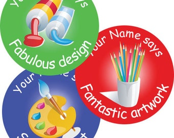 140 Personalised Art themed Teacher Reward Stickers