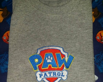 Paw Patrol Shirt - Embroidered Paw Patrol Logo & Customized Name
