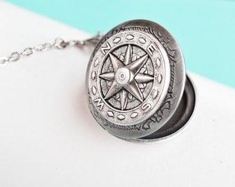 Compass Locket Necklace, Vintage Locket Necklace, Secret Locket, Antique Locket, Gift for Her, Nautical Locket, Nautical Jewelry