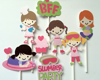 8 slumber party cupcake toppers, toppers, children's birthday party