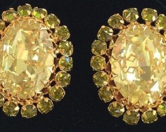Dazzling Vintage Schreiner Earrings~Citrine Yellow/Peridot Green Rhinestones/Goldtone~Signed