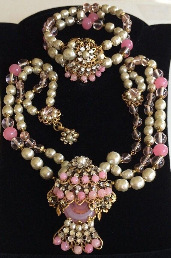 Vintage Miriam Haskell Necklace Amp Bracelet Setpink