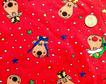 Cotton knit fabric Christmas reindeer one re