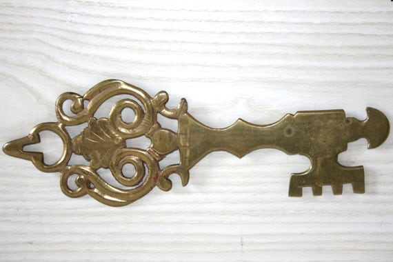 Vintage large key wall decor brass by sunnyleaffinds on