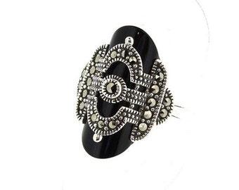 Art Deco Ring Silver Black Onyx Marcasite
