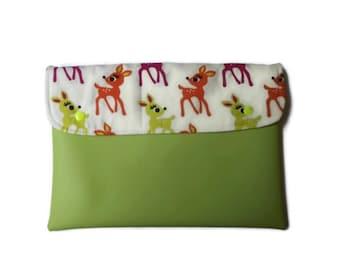 "Bambi vegan clutch, applegreen vegan clutch, vegan ipad case, ipad cover 10"""