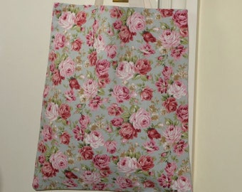 Vintage rose design cotton fabric lined tote bag. Made from 100% cotton fabric,  lined with calico, and with strong canvas straps.