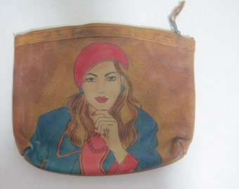"EMILY ANN Purse Clutch Wallet Size: 7.5""x6.5""x1"" Leather Signature Women's Vintage E1143"