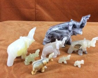 lot of 8 onyx elephants various sizes