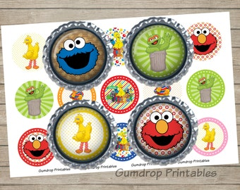 """40%OFF Sesame Street Bottlecap Bottle Cap Images ~ Buy 3 Get 1 FREE ~ Instant Download ~ 1"""" Circle ~ Hairbow Centers ~ Printable Image SS_12"""