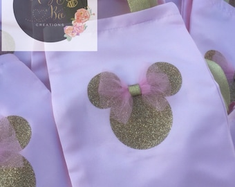 Minnie mouse pink and gold goody bags