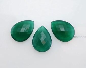 Green Onyx Loose Gemstone Wholesale Beads Beautiful Pear 13x18 mm -3 pcs.