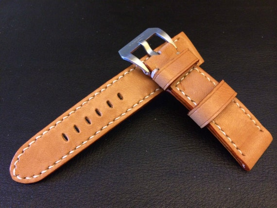 FREE SHIPPING, Leather Watch Band, 26mm Watch band, 24mm, Leather watch strap, Beige watch band, 22mm Buckle, watch band for Panerai