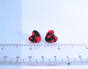 Sparkle Heart Earrings, Handmade, Polymer Clay, One of a kind, Gift for Valentines Day