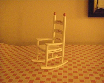 White and Pink wooden rocker 1/12 scale Dollhouse 1/2
