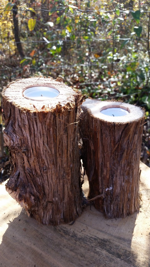 Aromatic Eastern Red Cedar Log Tea Light Candle Holder set of 2 Rustic Wedding, Home, or Fall Decor Centerpiece